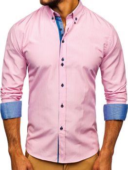 Růžová pánská proužkovaná košile s dlouhým rukávem Bolf 9714