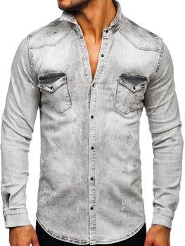 Šedá pánská džínová košile s dlouhým rukávem Bolf R805