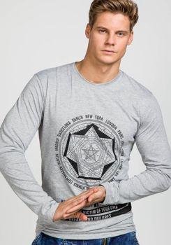 Šedé pánské tričko s dlouhým rukávem s potiskem Bolf 122