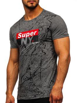 Šedé pánské tričko s potiskem Bolf SS11100