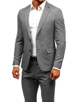 Šedo-tmavě modrý pánský oblek Bolf 19200