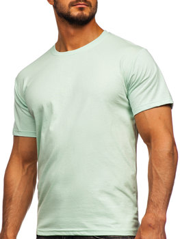 Světle mentolové pánské tričko bez potisku Bolf 192397