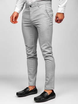 Světle šedé pánské textilní chino kalhoty Bolf 0016