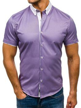 19c56500659 Tmavě fialová pánská proužkovaná košile s krátkým rukávem Bolf 5201