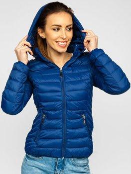 Tmavě modrá dámská prošívaná přechodová bunda s kapucí Bolf B0102
