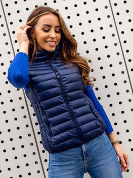 Tmavě modrá dámská prošívaná vesta Bolf B2705