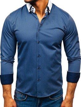 Tmavě modrá elegantní pánská proužkovaná košile s dlouhým rukávem Bolf 0909-A