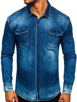 Tmavě modrá pánská džínová košile s dlouhým rukávem Bolf 2063