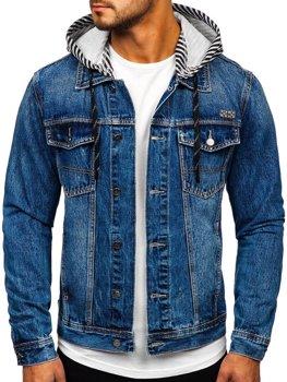 Tmavě modrá pánská džínová mikina s kapucí Bolf RB9887-1