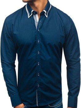 Tmavě modrá pánská elegantní košile s dlouhým rukávem Bolf 3704-1
