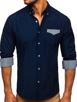 Tmavě modrá pánská elegantní košile s dlouhým rukávem Bolf 4711