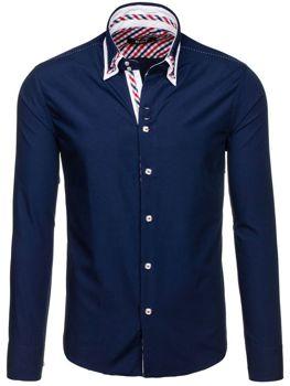 Tmavě modrá pánská elegantní košile s dlouhým rukávem Bolf 6963