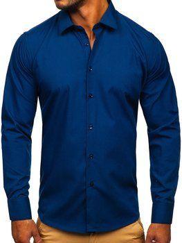 Tmavě modrá pánská elegantní košile s dlouhým rukávem Bolf SM16