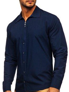 Tmavě modrá pánská košile s dlouhým rukávem Bolf 20702