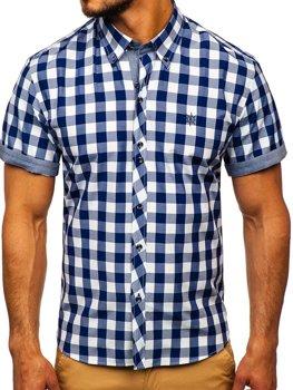 Tmavě modrá pánská kostkovaná košile s krátkým rukávem Bolf 6522
