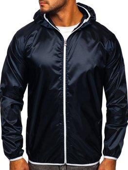 Tmavě modrá pánská přechodová bunda s kapucí větrovka Bolf 5060