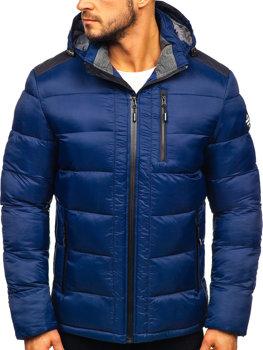 Tmavě modrá pánská pro?ívaná sportovní zimní bunda Bolf AB98
