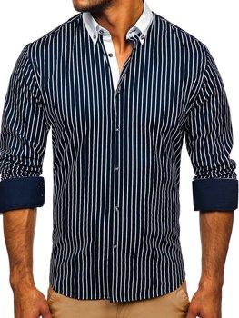 Tmavě modrá pánská pruhovaná košile s dlouhým rukávem Bolf 20706
