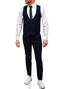 Tmavě modrá pánská souprava vesta a kalhoty Bolf 0019