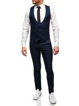 Tmavě modrá pánská souprava vesta a kalhoty Bolf 0020