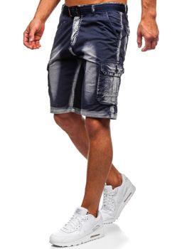 Tmavě modré pánské džínové kapsáčové kraťasy s páskem Bolf BN241