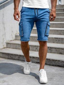 Tmavě modré pánské kapsáčové džínové kraťasy Bolf HY775