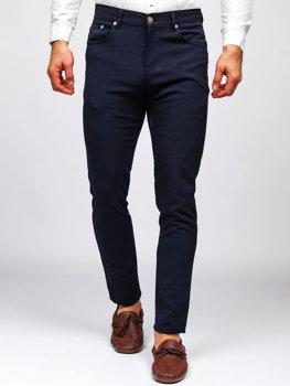 Tmavě modré pánské textilní chino kalhoty Bolf 0004
