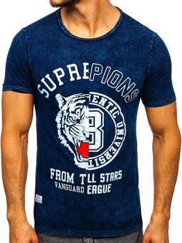 Tmavě modré pánské tričko s potiskem Bolf HFM015