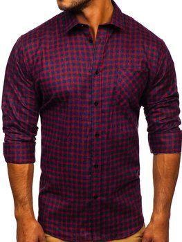Tmavě modro-červená pánská flanelová košile s dlouhým rukávem Bolf F8