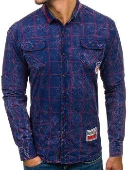 Tmavě modro-červená pánská kostkovaná košile s dlouhým rukávem Bolf 2506