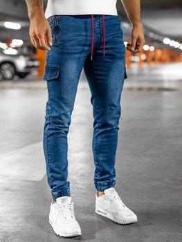 Tmavě modro-červené pánské džínové jogger kapsáče Bolf HY272