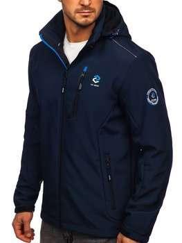 Tmavě modro-modrá pánská softshellová bunda Bolf BK118