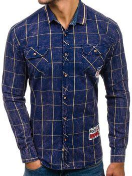 cced085d556 Tmavě modro-žlutá pánská kostkovaná košile s dlouhým rukávem Bolf 2506