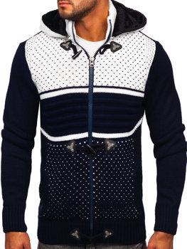 Tmavě modrý pánský silný svetr na zip s kapucí bunda Bolf 2047