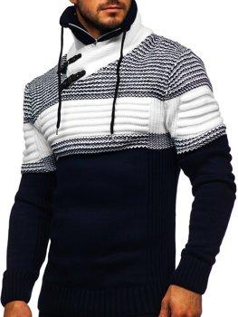 Tmavě modrý silný pánský svetr s vysokým límcem Bolf 2002