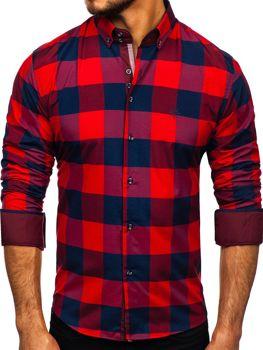 Vínová pánská kostkovaná košile s dlouhým rukávem Bolf 4701-2