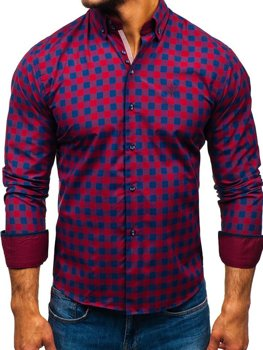 Vínová pánská kostkovaná košile s dlouhým rukávem Bolf 5816-A