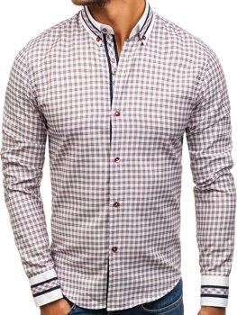 Vínová pánská kostkovaná košile s dlouhým rukávem Bolf 8808 ff276cc9ae