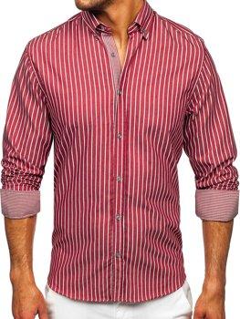 Vínová pánská pruhovaná košile s dlouhým rukávem Bolf 20731