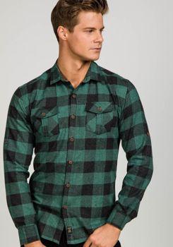 Zelená pánská flanelová košile s dlouhým rukávem Bolf 1770