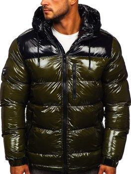 Zelená pánská prošívaná zimní bunda Bolf 6462