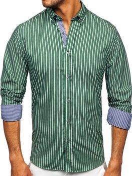 Zelená pánská pruhovaná košile s dlouhým rukávem Bolf 20731