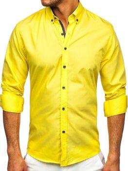 Žlutá pánská košile s dlouhým rukávem Bolf 20716