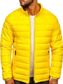 Žlutá pánská prošívaná přechodová bunda Bolf 1119