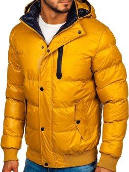 Žlutá pánská prošívaná zimní bunda Bolf 5839