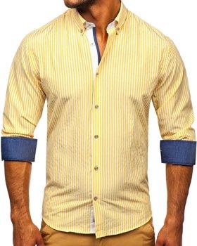 Žlutá pánská pruhovaná košile s dlouhým rukávem Bolf 20704
