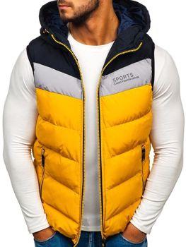 Žlutá pánská vesta s kapucí Bolf 5804