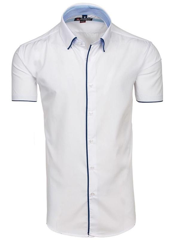 Bílá pánská elegantní košile s krátkým rukávem Bolf 061