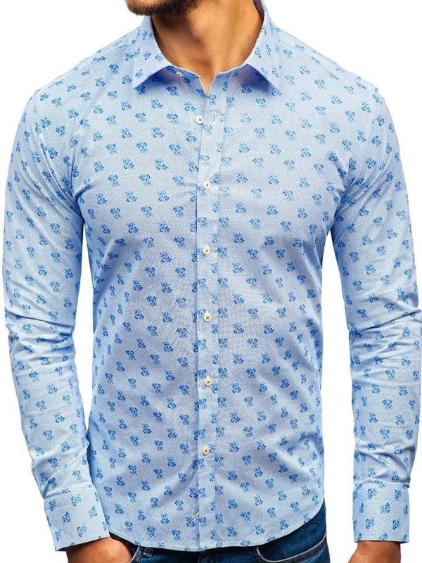 Bílo-modrá pánská vzorovaná košile s dlouhým rukávem Bolf 300G36