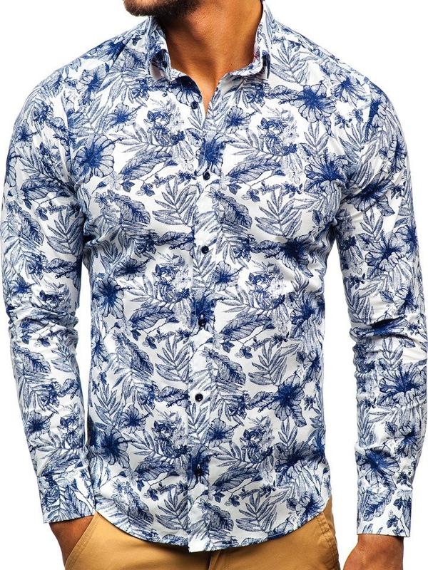 Bílo-tmavě modrá pánská vzorovaná košile s dlouhým rukávem Bolf 200G65